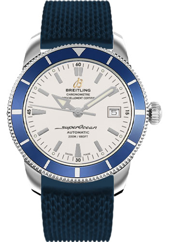 Breitling Watches - Superocean Heritage 42 Aero Classic Rubber Strap - Tang - Style No: A1732116/G717-aero-classic-rubber-blue-tang