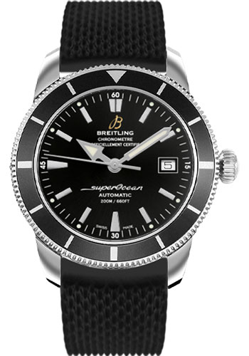 Breitling Watches - Superocean Heritage 42 Aero Classic Rubber Strap - Tang - Style No: A1732124/BA61-aero-classic-rubber-black-tang