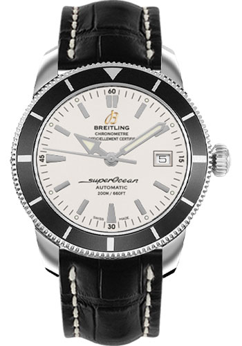 Breitling Watches - Superocean Heritage 42 Croco Strap - Tang - Style No: A1732124/G717-croco-black-tang