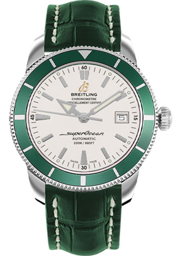Breitling Watches - Superocean Heritage 42 Croco Strap - Tang - Style No: A1732136/G717-croco-green-tang