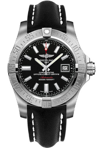 Breitling Watches - Avenger II Seawolf Leather Strap - Deployant Buckle - Style No: A1733110/BC30-leather-black-deployant