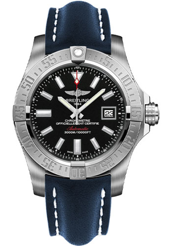 Breitling Watches - Avenger II Seawolf Leather Strap - Deployant Buckle - Style No: A1733110/BC30-leather-blue-deployant