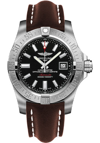 Breitling Watches - Avenger II Seawolf Leather Strap - Tang Buckle - Style No: A1733110/BC30-leather-brown-tang