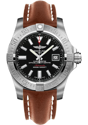Breitling Watches - Avenger II Seawolf Leather Strap - Deployant Buckle - Style No: A1733110/BC30-leather-gold-deployant