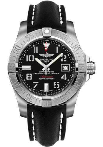 Breitling Watches - Avenger II Seawolf Leather Strap - Tang Buckle - Style No: A1733110/BC31-leather-black-tang