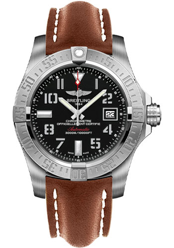 Breitling Watches - Avenger II Seawolf Leather Strap - Tang Buckle - Style No: A1733110/BC31-leather-gold-tang