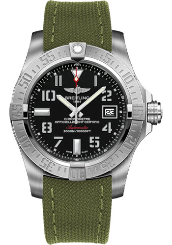 Breitling Watches - Avenger II Seawolf Military Strap - Tang Buckle - Style No: A1733110/BC31-military-khaki-green-tang