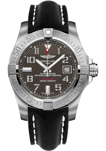 Breitling Watches - Avenger II Seawolf Leather Strap - Tang Buckle - Style No: A1733110/F563-leather-black-tang