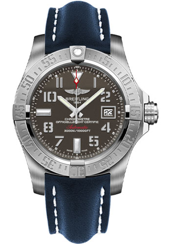 Breitling Watches - Avenger II Seawolf Leather Strap - Deployant Buckle - Style No: A1733110/F563-leather-blue-deployant