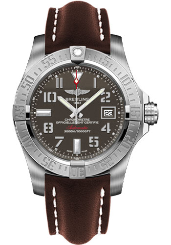 Breitling Watches - Avenger II Seawolf Leather Strap - Deployant Buckle - Style No: A1733110/F563-leather-brown-deployant