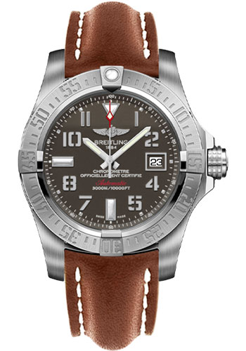 Breitling Watches - Avenger II Seawolf Leather Strap - Tang Buckle - Style No: A1733110/F563-leather-gold-tang