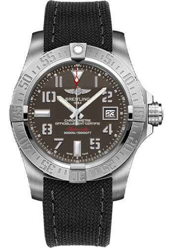 Breitling Watches - Avenger II Seawolf Military Strap - Tang Buckle - Style No: A1733110/F563-military-anthracite-tang