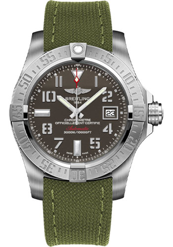 Breitling Watches - Avenger II Seawolf Military Strap - Tang Buckle - Style No: A1733110/F563-military-khaki-green-tang