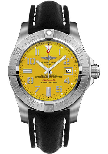 Breitling Watches - Avenger II Seawolf Leather Strap - Tang Buckle - Style No: A1733110/I519/435X/A20BASA.1