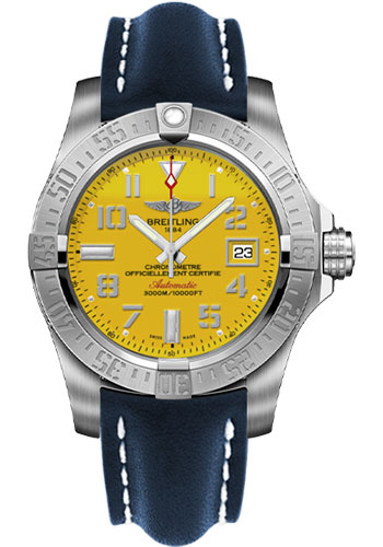 Breitling Watches - Avenger II Seawolf Leather Strap - Deployant Buckle - Style No: A1733110/I519-leather-blue-deployant