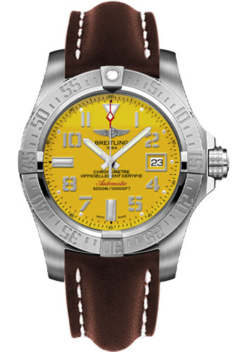 Breitling Watches - Avenger II Seawolf Leather Strap - Deployant Buckle - Style No: A1733110/I519-leather-brown-deployant