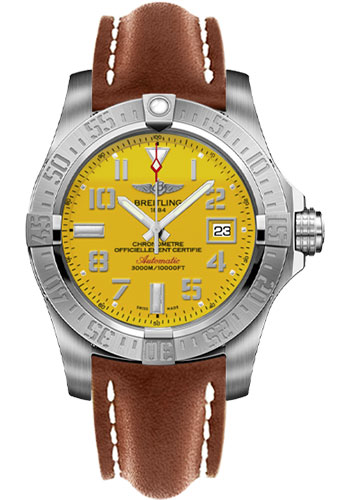 Breitling Watches - Avenger II Seawolf Leather Strap - Deployant Buckle - Style No: A1733110/I519/434X/A20DSA.1