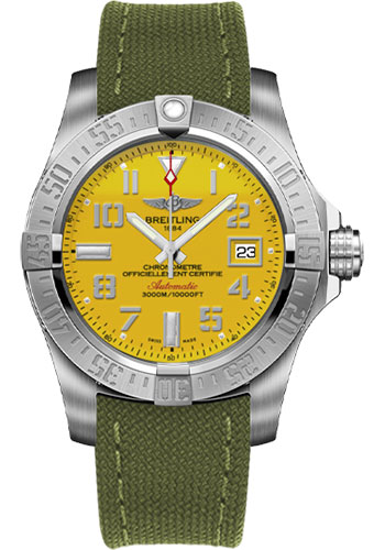 Breitling Watches - Avenger II Seawolf Military Strap - Tang Buckle - Style No: A1733110/I519-military-khaki-green-tang