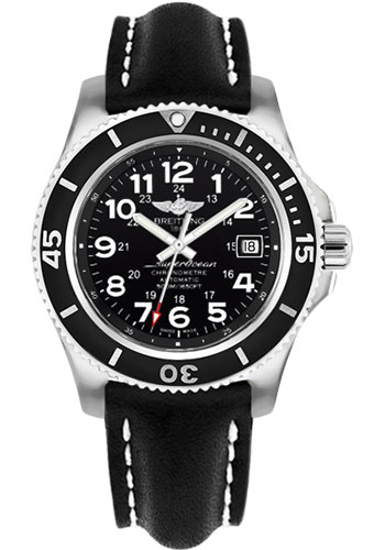 Breitling Watches - Superocean II 42mm - Leather Strap - Tang - Style No: A17365C9/BD67-leather-black-tang
