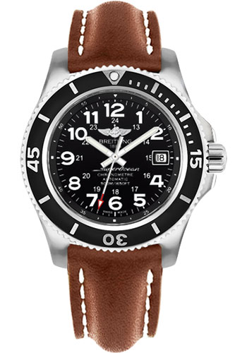 Breitling Watches - Superocean II 42mm - Leather Strap - Tang - Style No: A17365C9/BD67-leather-gold-tang