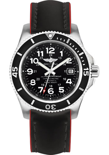 Breitling Watches - Superocean II 42mm - Superocean Strap - Style No: A17365C9/BD67-superocean-black-red-tang