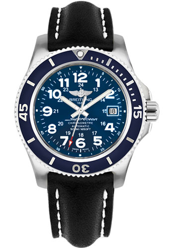 Breitling Watches - Superocean II 42mm - Leather Strap - Tang - Style No: A17365D1/C915-leather-black-tang