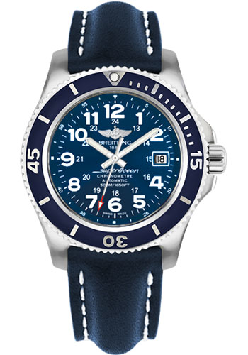 Breitling Watches - Superocean II 42mm - Leather Strap - Tang - Style No: A17365D1/C915-leather-blue-tang