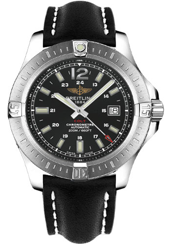 Breitling Watches - Colt Automatic Leather Strap - Tang - Style No: A1738811/BD44-leather-black-tang