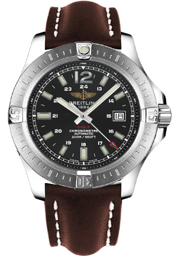 Breitling Watches - Colt Automatic Leather Strap - Deployant - Style No: A1738811/BD44-leather-brown-deployant