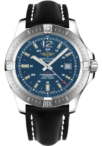 Breitling Watches - Colt Automatic Leather Strap - Deployant - Style No: A1738811/C906-leather-black-deployant