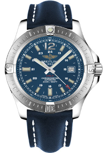 Breitling Watches - Colt Automatic Leather Strap - Tang - Style No: A1738811/C906-leather-blue-tang
