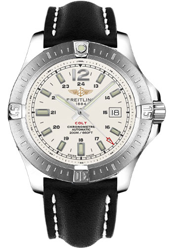 Breitling Watches - Colt Automatic Leather Strap - Deployant - Style No: A1738811/G791-leather-black-deployant