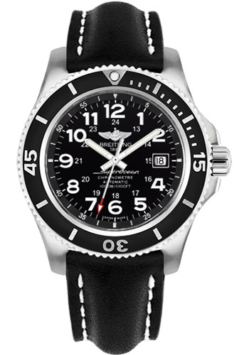Breitling Watches - Superocean II 44mm - Leather Strap - Tang - Style No: A17392D7/BD68-leather-black-tang