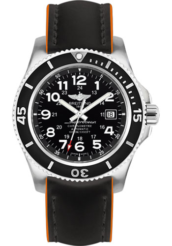 Breitling Watches - Superocean II 44mm - Superocean Strap - Style No: A17392D7/BD68-superocean-black-orange-tang