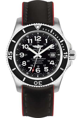 Breitling Watches - Superocean II 44mm - Superocean Strap - Style No: A17392D7/BD68-superocean-black-red-tang