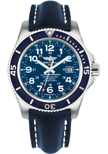 Breitling Watches - Superocean II 44mm - Leather Strap - Tang - Style No: A17392D8/C910-leather-blue-tang