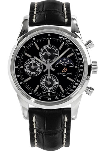 Breitling Watches - Transocean Chronograph 1461 Stainless Steel - Croco Strap - Deployant - Style No: A1931012/BB68-croco-black-deployant