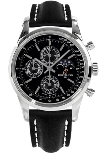 Breitling Watches - Transocean Chronograph 1461 Stainless Steel - Leather Strap - Tang - Style No: A1931012/BB68-leather-black-tang
