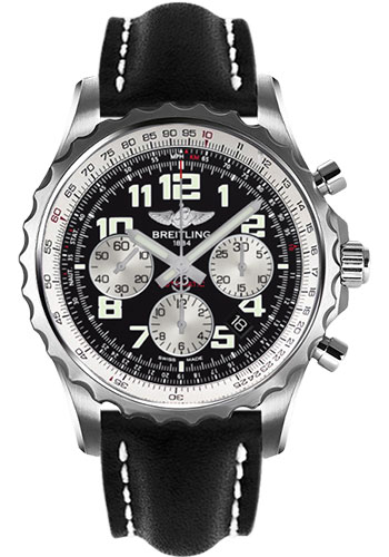 Breitling Watches - Chronospace Automatic Leather Strap - Deployant Buckle - Style No: A2336035/BB97-leather-black-deployant