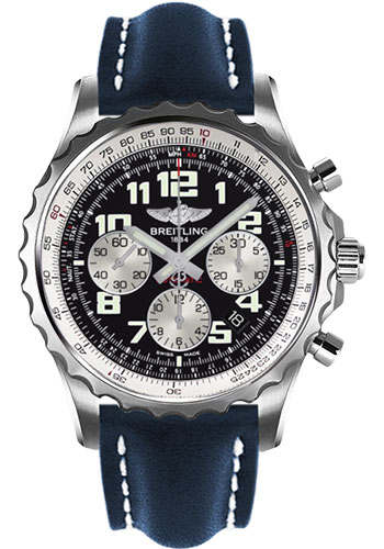 Breitling Watches - Chronospace Automatic Leather Strap - Deployant Buckle - Style No: A2336035/BB97-leather-blue-deployant