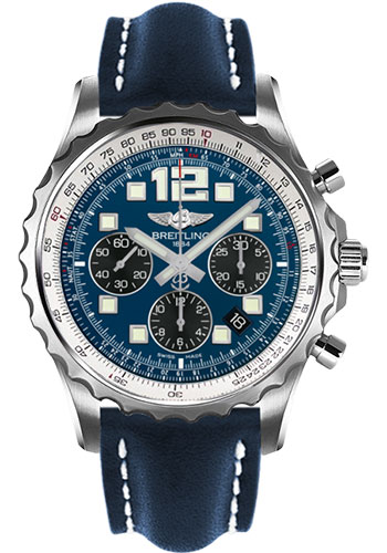 Breitling Watches - Chronospace Automatic Leather Strap - Deployant Buckle - Style No: A2336035/C833-leather-blue-deployant