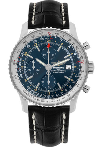 Breitling Watches - Navitimer World Stainless Steel - Croco Strap - Deployant - Style No: A2432212/C651-croco-black-deployant