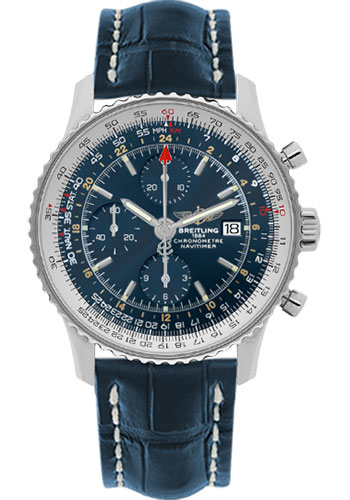 Breitling Watches - Navitimer World Stainless Steel - Croco Strap - Deployant - Style No: A2432212/C651-croco-blue-deployant