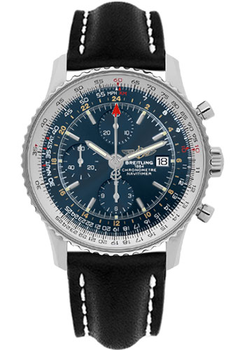Breitling Watches - Navitimer World Stainless Steel - Leather Strap - Deployant - Style No: A2432212/C651-leather-black-deployant