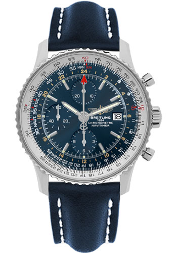 Breitling Watches - Navitimer World Stainless Steel - Leather Strap - Deployant - Style No: A2432212/C651-leather-blue-deployant
