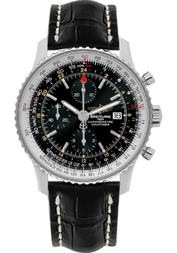Breitling Watches - Navitimer World Stainless Steel - Croco Strap - Deployant - Style No: A2432212/B726-croco-black-deployant
