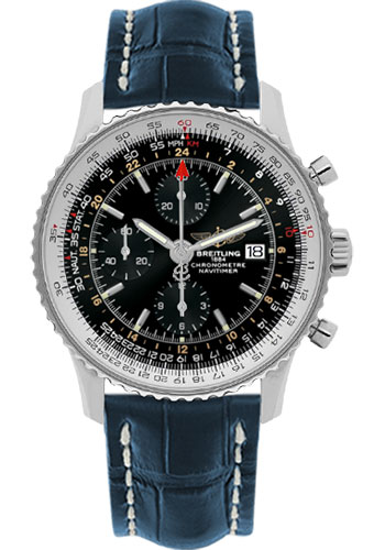 Breitling Watches - Navitimer World Stainless Steel - Croco Strap - Deployant - Style No: A2432212/B726-croco-blue-deployant