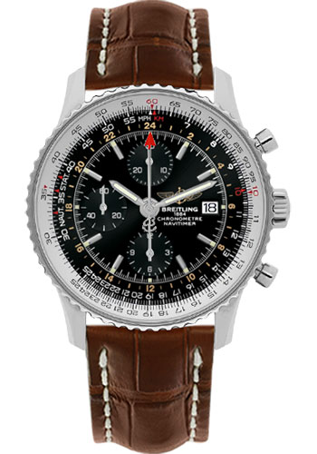 Breitling Watches - Navitimer World Stainless Steel - Croco Strap - Deployant - Style No: A2432212/B726-croco-brown-deployant