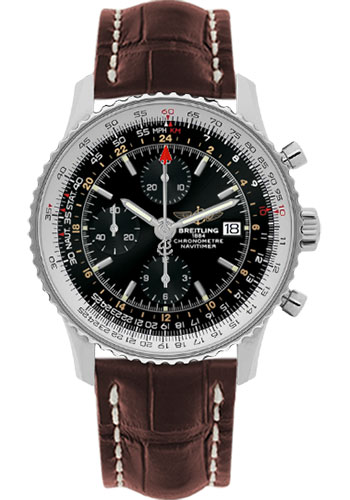 Breitling Watches - Navitimer World Stainless Steel - Croco Strap - Deployant - Style No: A2432212/B726-croco-gold-deployant