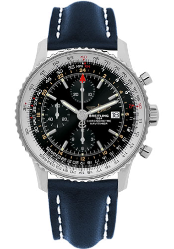 Breitling Watches - Navitimer World Stainless Steel - Leather Strap - Deployant - Style No: A2432212/B726-leather-blue-deployant
